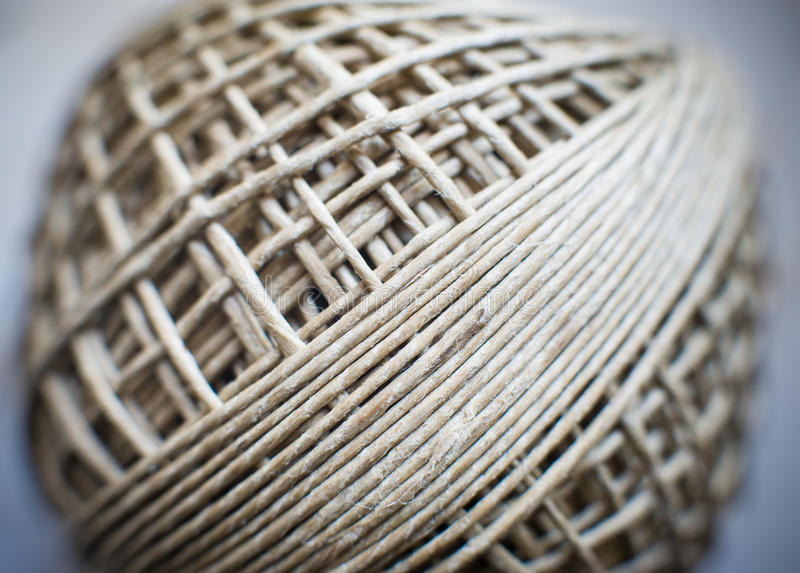 Twine ball twist connected world concept. Twine ball twist macro detail, selective focus, connected web world concept stock photo