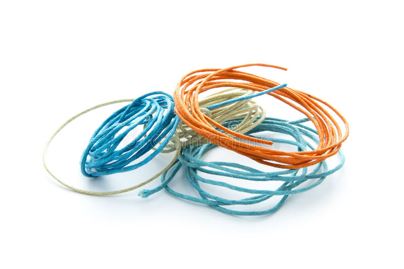 Twine. Colorful twines isolated on white background stock photos