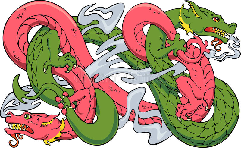 Twined Dragons Royalty Free Stock Images