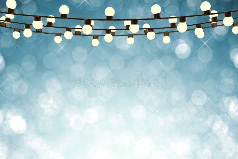 Twinkle lights on empty blue background stock illustration