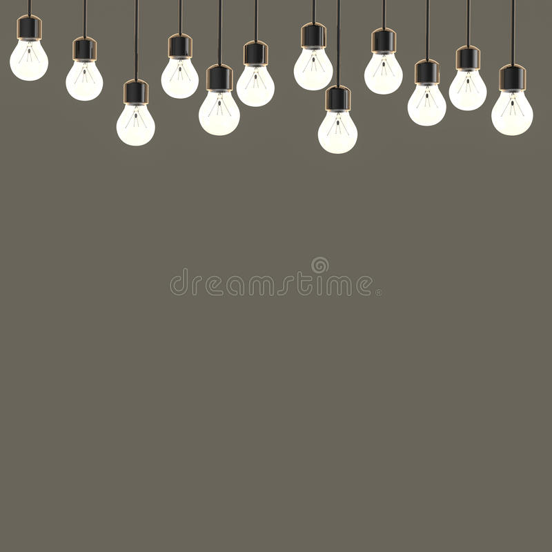 Twinkle lights on empty grey background royalty free stock images