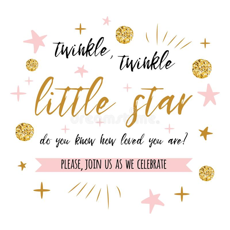 Twinkle twinkle little star text with gold polka dot and pink star for girl baby shower card invitation template stock illustration