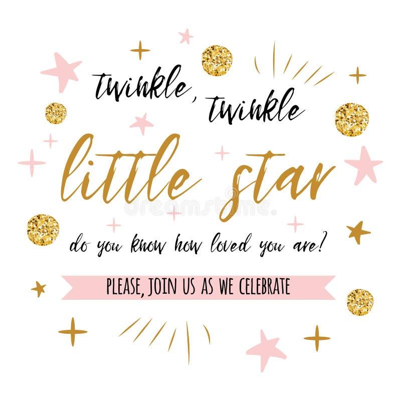 Twinkle twinkle pequeño texto de estrella con punto de polka dorado y estrella rosa para la invitación de tarjeta de la ducha de  libre illustration