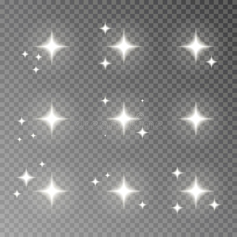 Twinkle sparkle vector isolated on transparent background. Flash light camera effect. Glare lens col stock illustration