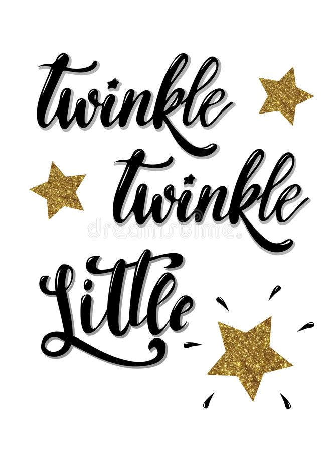 Twinkle twinkle little star hand lettered phrase decorated by golden textured stars. On a white background. perfect for home decor, posters, banners, cards etc royalty free illustration