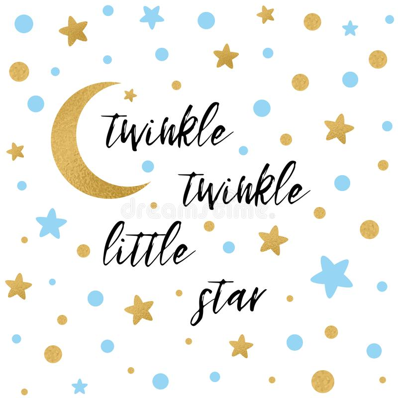 Twinkle twinkle little star text with gold blue star and moon for boy baby shower card template vector illustration