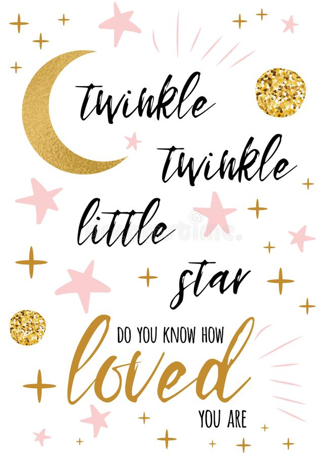 Free Twinkle Twinkle Little Star Text With Gold Ornament And Pink Star For Girl Baby Shower Card Design Template Stock Photography - 113029592