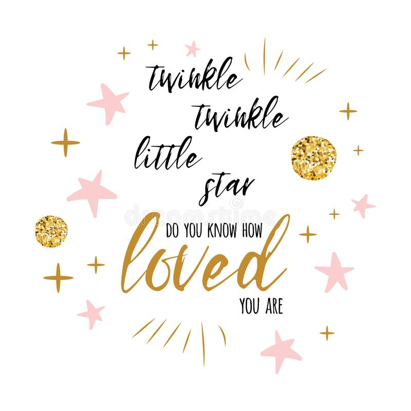 Free Twinkle Twinkle Little Star Text With Gold Ornament And Pink Star For Girl Baby Shower Card Template Stock Images - 111008284