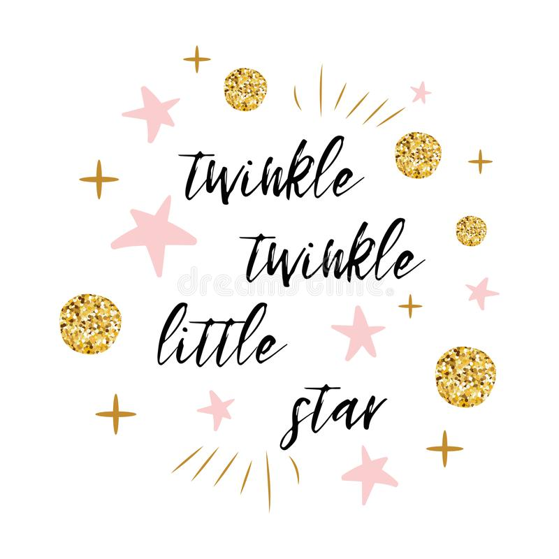 Free Twinkle Twinkle Little Star Text With Gold Polka Dot And Pink Star For Girl Baby Shower Card Template Stock Photos - 104948943