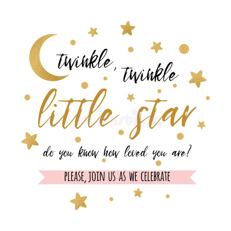 Free Twinkle Twinkle Little Star Text With Gold Star And Moon For Girl Boy Baby Shower Card Invitation Royalty Free Stock Image - 107968736