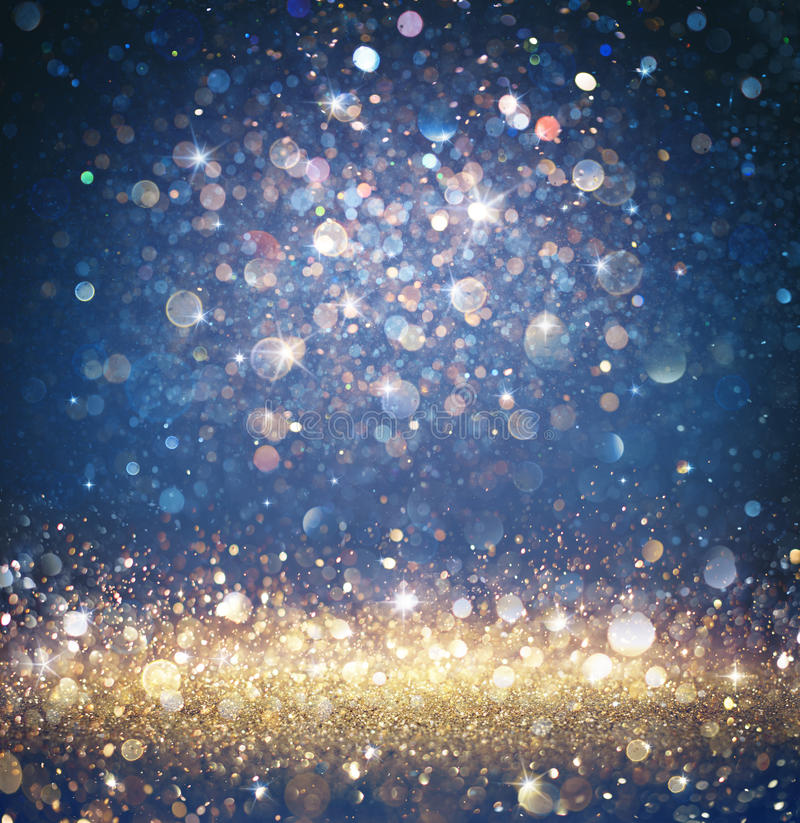 Free Twinkled Christmas Background - Glitter Gold And Blue With Sparkling Royalty Free Stock Photography - 77617437