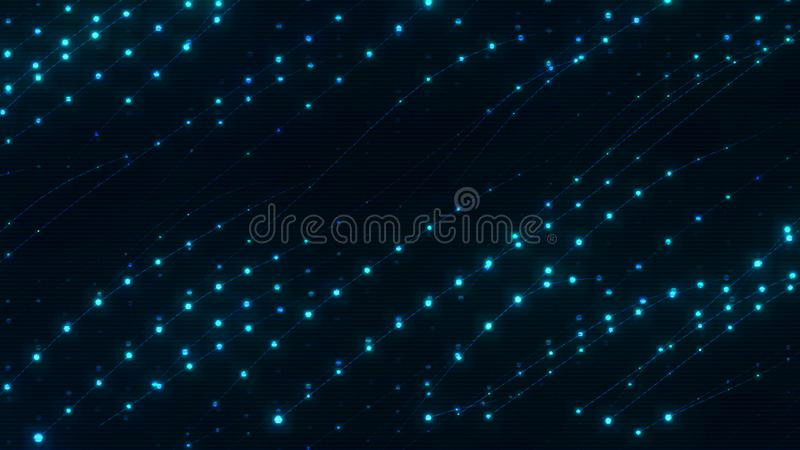 Twinkling flashing dots in dark space. Abstract black background stock illustration