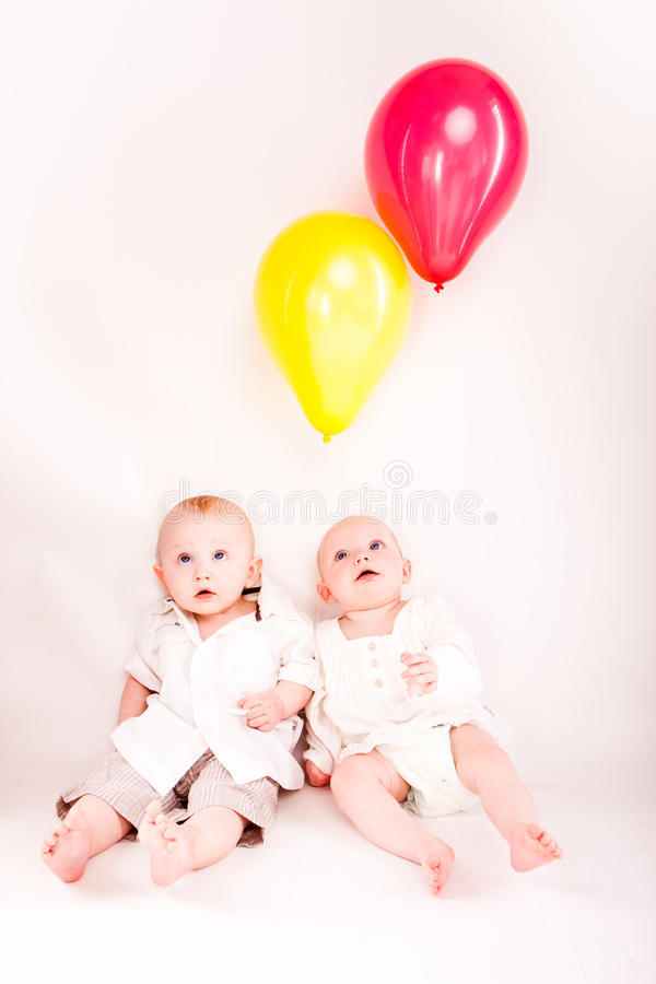 Download Twins stock photo. Image of child, close, baloon, sister - 20174706