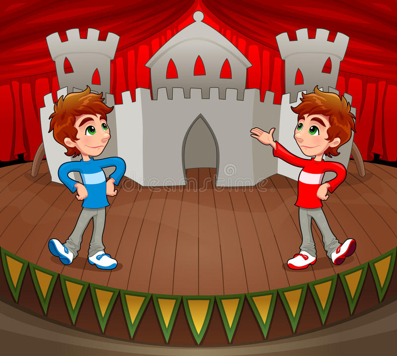 Download Twins Are Acting On The Stage. Stock Vector - Illustration of twin, acting: 27196139