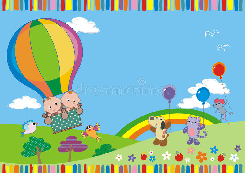 Twins in balloon royalty free illustration