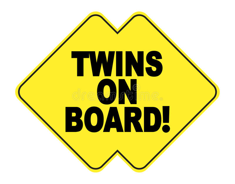 Twins on board. Yellow and black sticker for car stock illustration