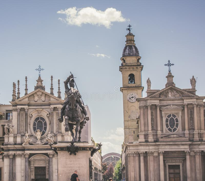 Twins churches in Turin Piazza stock images