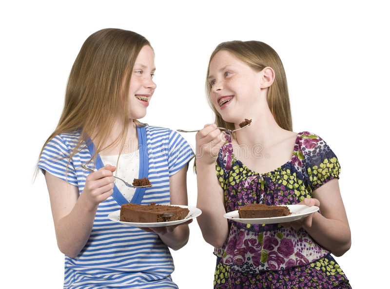Twins Eat Cake royalty free stock photos