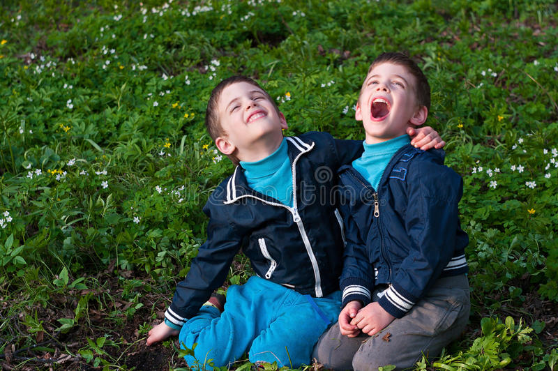 Twins frolic in a meadow. Four year old twin boys frolic on the meadow. Season - spring royalty free stock image