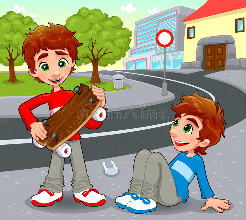 Twins with an homemade skateboard. Vector and cartoon illustration vector illustration