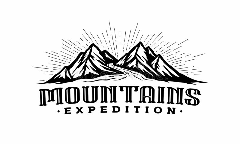 Twins Mountains with river logo template stock illustration