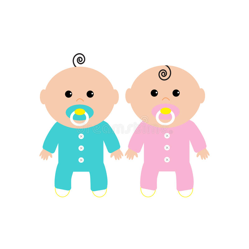 Twins Two Cute Twin Babies On White Background. Baby Girl ...