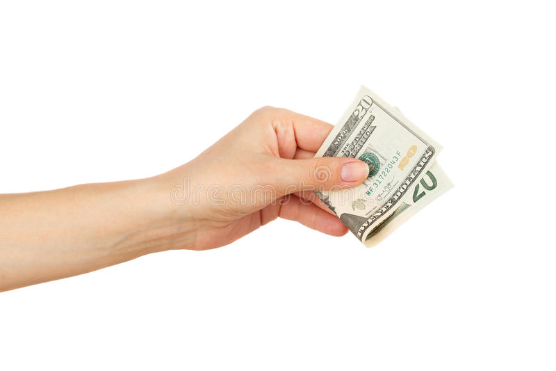 Twintig dollars in de geïsoleerde vrouwen` s hand, royalty-vrije stock afbeeldingen