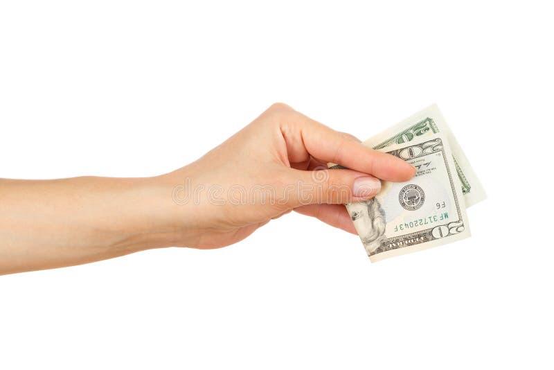 Twintig dollars in de geïsoleerde vrouwen` s hand, royalty-vrije stock foto