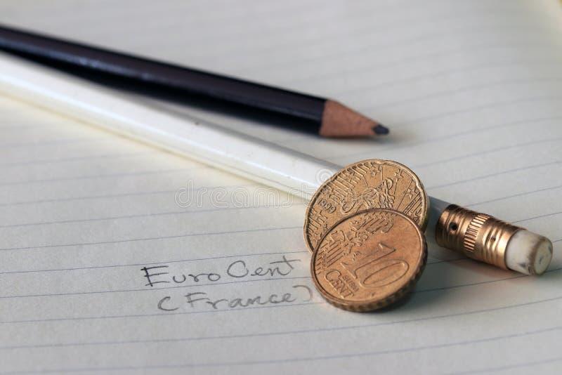 Twintig Frankrijk eurocent op obvers, Lijnbeeld van ` Sower `, een al lang bestaand die symbool van Frankrijk door de twaalf ster stock afbeelding