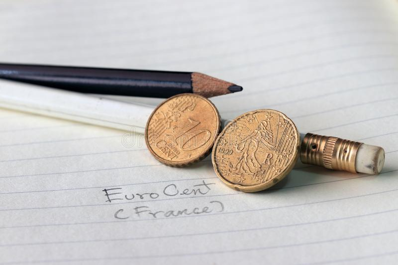 Twintig Frankrijk eurocent op obvers, Lijnbeeld van ` Sower `, een al lang bestaand die symbool van Frankrijk door de twaalf ster stock foto's
