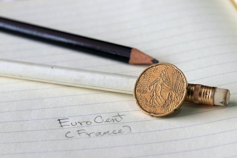 Twintig Frankrijk eurocent op obvers, Lijnbeeld van ` Sower `, een al lang bestaand die symbool van Frankrijk door de twaalf ster royalty-vrije stock foto
