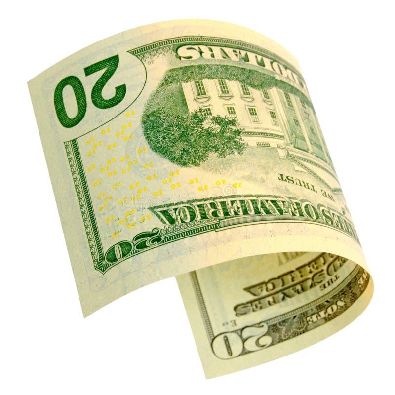 Twintig geïsoleerde dollars stock afbeelding