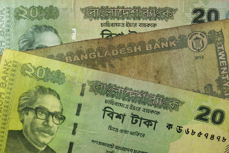 Twintig Inwoner van Bangladesh taka rekeningen, Bangladesh royalty-vrije stock foto