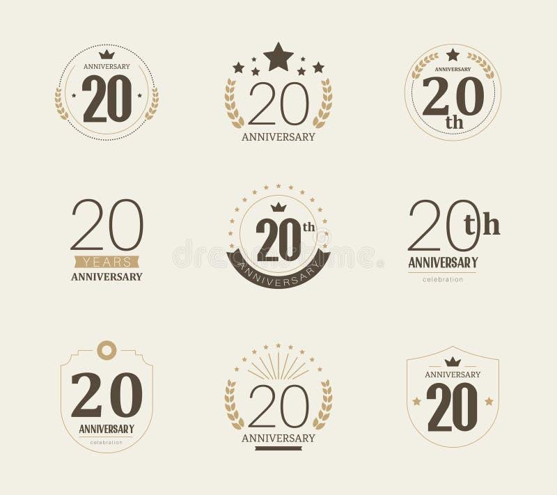 Twintig van de verjaardagsjaar viering logotype de 20ste reeks van het verjaardagsembleem royalty-vrije illustratie