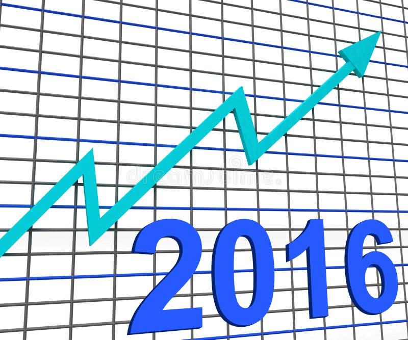 Twintig Zestien Grafiekgrafiek tonen Verhoging van 2016 vector illustratie