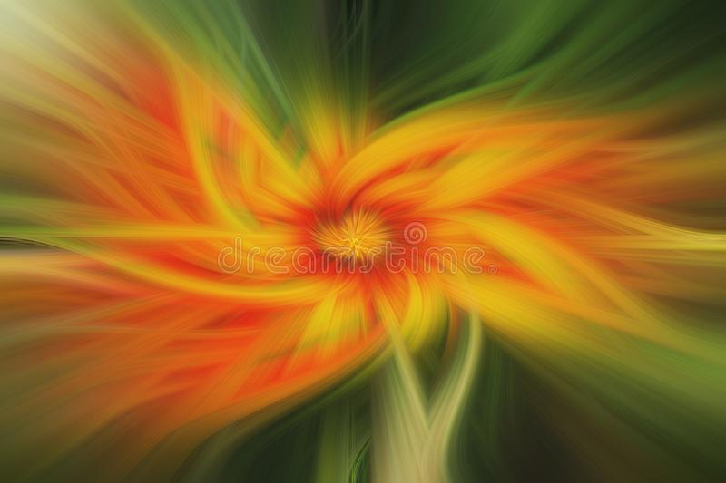 Twirl in Shades of Green Yellow an Red, and Abstract and Blurred Look. Twirl in Shades of Green Yellow and Red, With Abstract and Blurred Look stock illustration