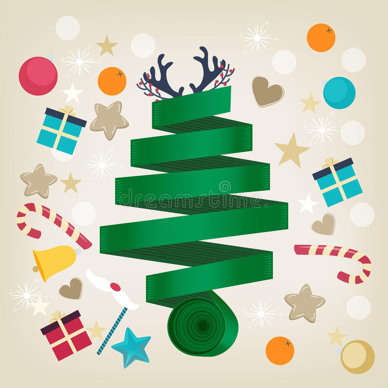 Twirled ribbon Christmas tree card design. Twirled green ribbon Christmas tree card design topped with reindeer antlers and surrounded by Xmas icons of candy vector illustration