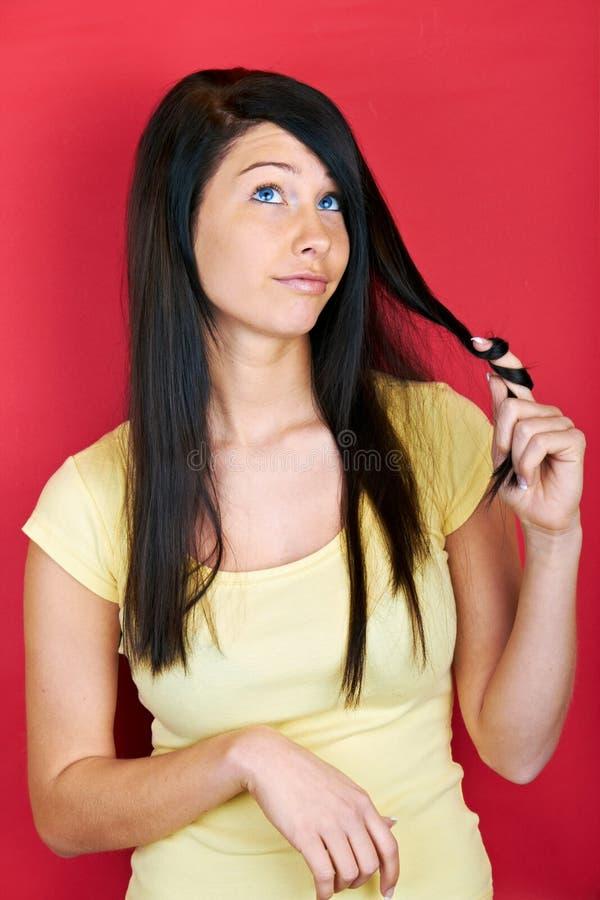 Twirling włosy fotografia stock
