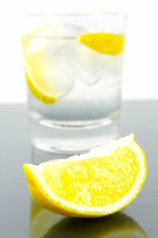 A twist Of Lemon. A glass of soda water with a slice of lemon royalty free stock photos
