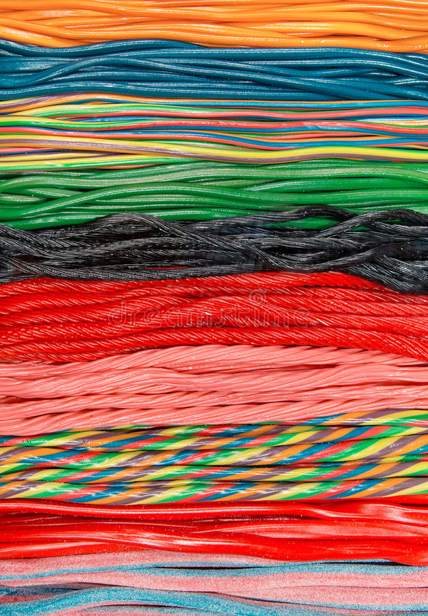Twisted Colorful Liquorice Candy stock photography