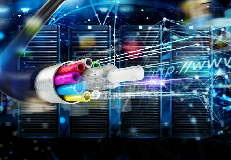 Internet connection with the fiber optic cables. Concept of fast server data center with network internet effects. Twisted fiber optic cables in dark background stock images