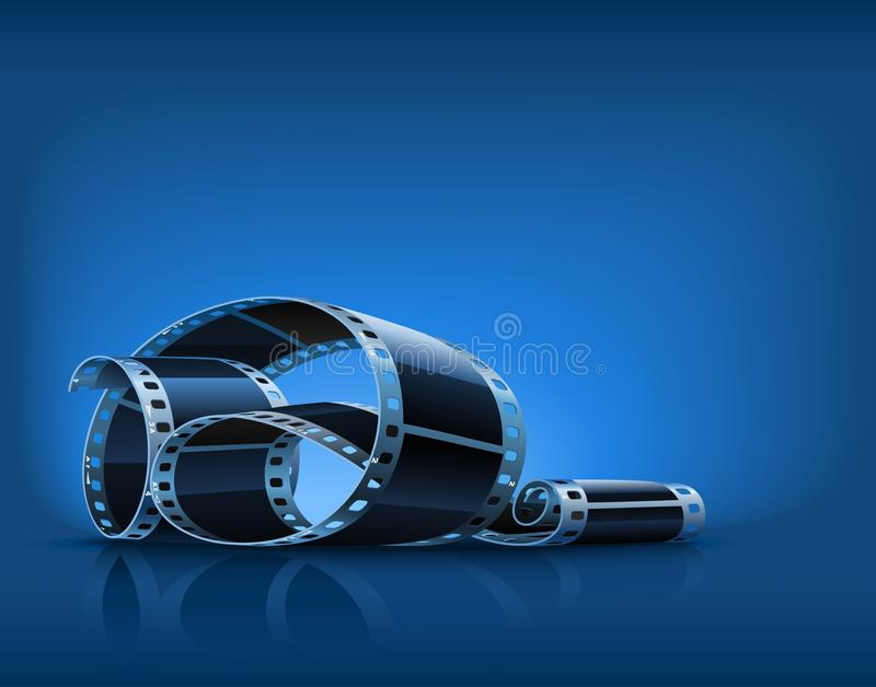Twisted film for photo or video recording. On blue background illustration stock illustration