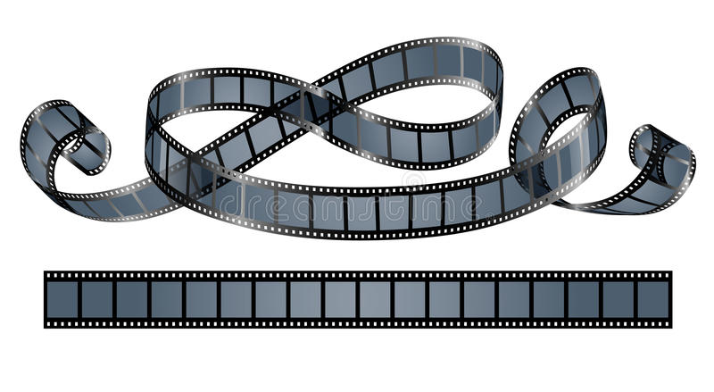 Twisted film reel isolated vector illustration
