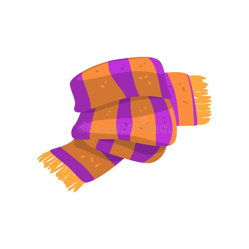 Twisted rayó la bufanda en colores anaranjados y púrpuras con la franja en los extremos Accesorio caliente del invierno o libre illustration