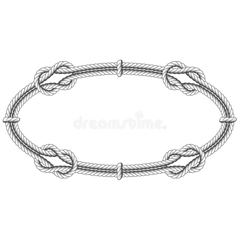 Twisted rope oval - elliptic frame. With knots stock illustration