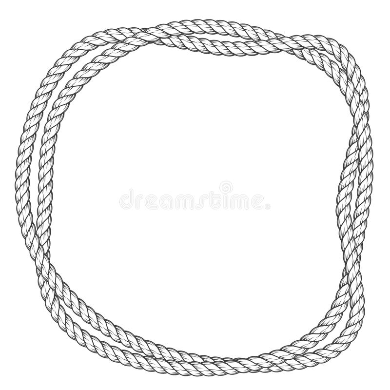 Twisted rope round frame - interlaced ropes border royalty free illustration