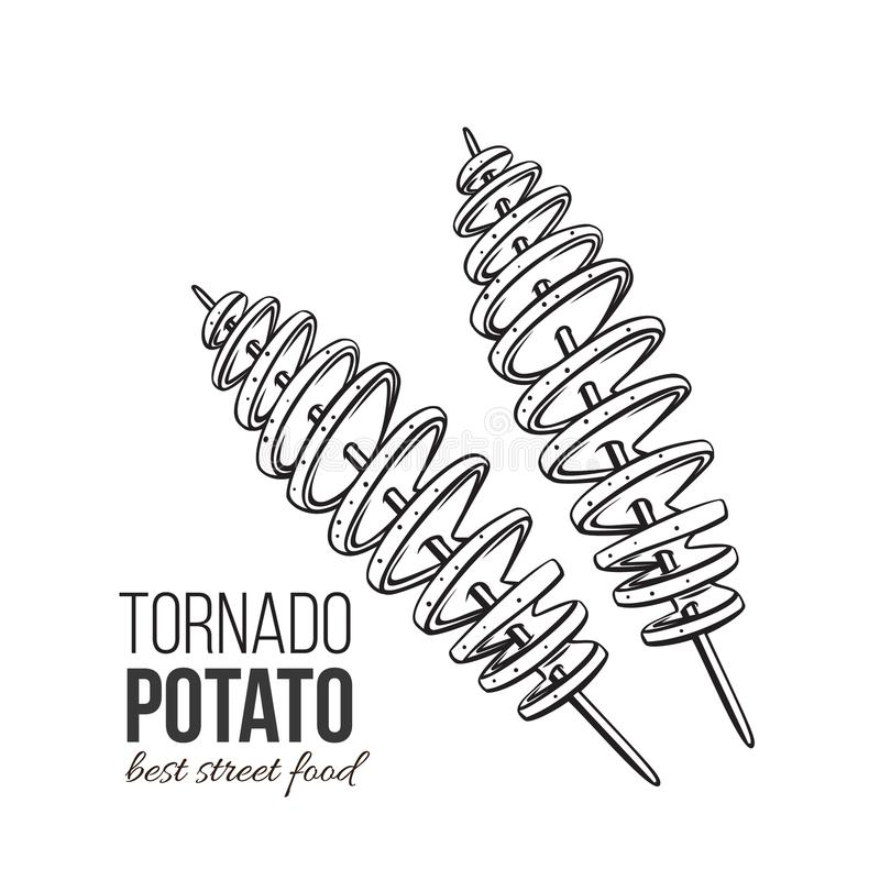 Twisted spiral chip. S. Vector tornado potato. Illustration fast food for design street cafe or takeaway food. Retro style stock illustration