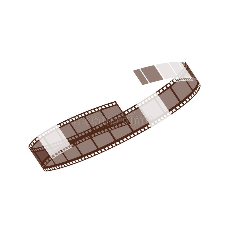 Twisted into a spiral reel of cinema and negative 3d film strip. Twisted into a spiral reel of cinema and negative 3d film strip for shooting movies, video and royalty free illustration