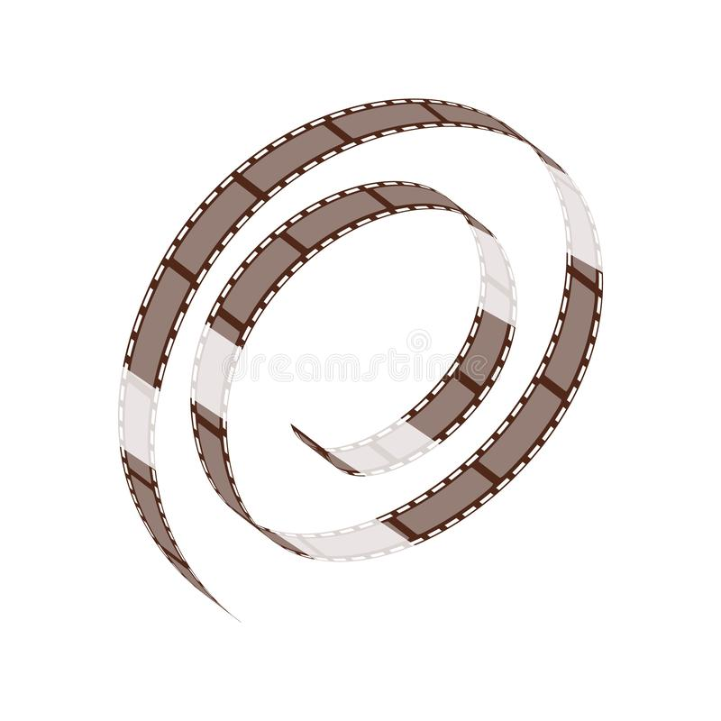 Twisted into a spiral reel of cinema and negative film strip for shooting movies, video and photos. Vector film strips illustration isolated on white stock illustration