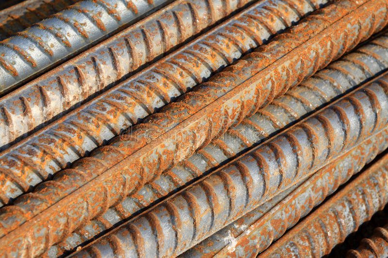 Twisted steel construction materials. In a construction site stock photo